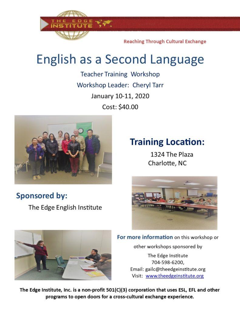 ESL workshop flier for January 2020